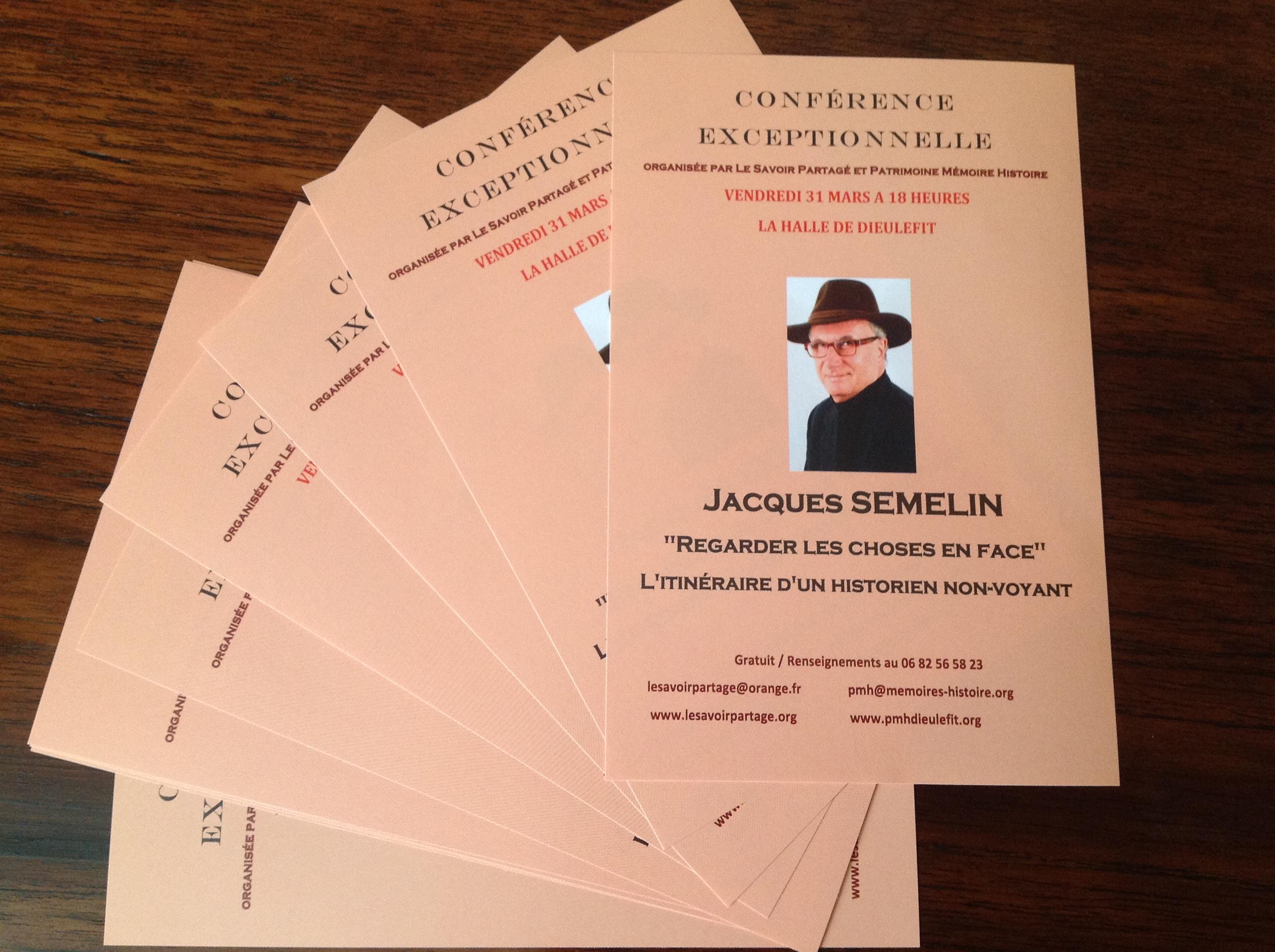 """A la Halle, le 31 mars de 18 h à 20 h, Jacques SEMELIN """"Regarder les choses en face"""""""