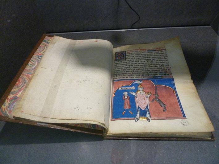 Le livre des prophéties des papes. Manuscrit sur parchemin et papier (1315-1320). Reliure par Simier Père.