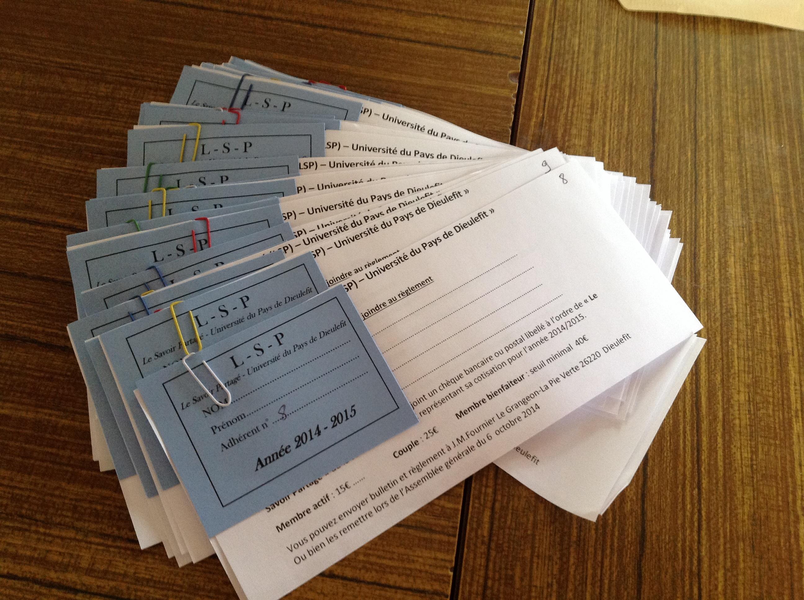 Les bulletins et cartes d'adhésion sont prêts !