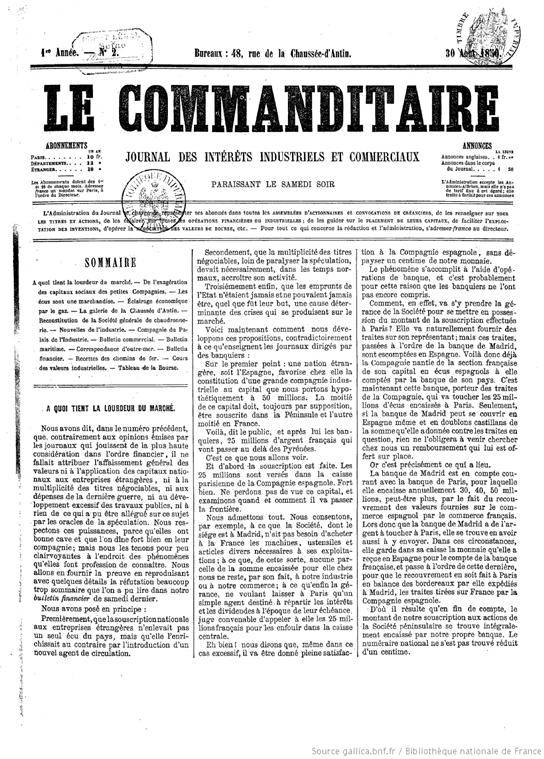 6. la société en comandite : photo d'un journal du 30 août 1850