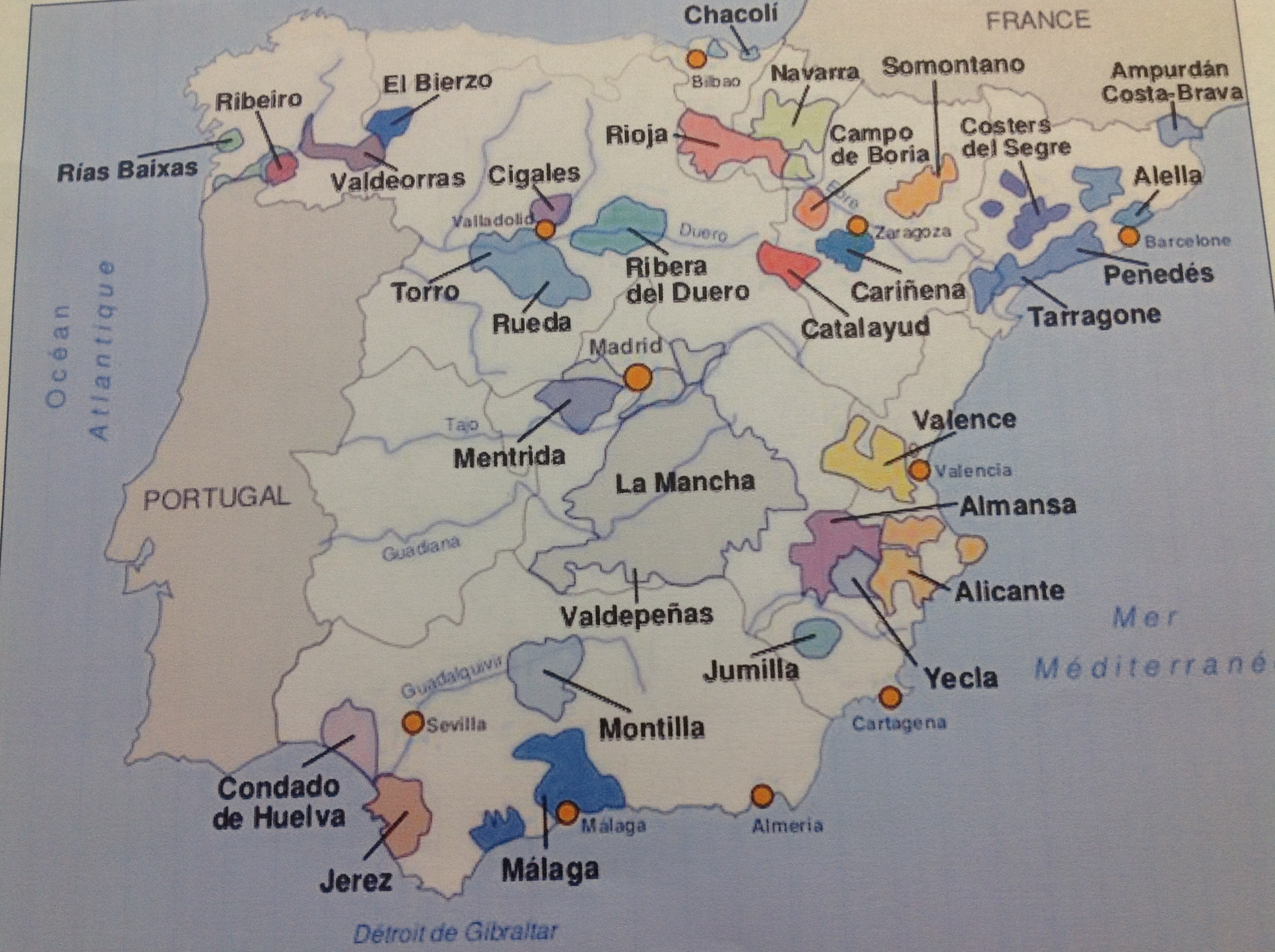 Une joile carte des vignobles espagnols